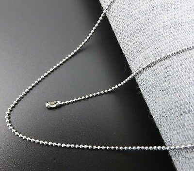 14-30  1.5mm Bead Ball Chain Silver Colour Soldier Tag Necklace Stainless Steel • 2.79£