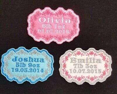 Personalised Baby's Name And Birth Embroidered Name Patch Badge Iron On Or Sew • 3.99£