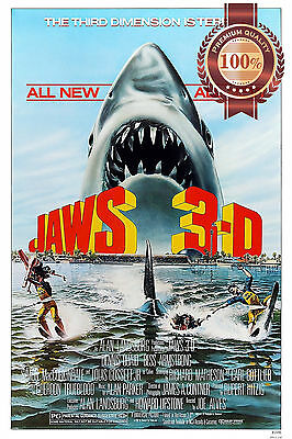AU19.95 • Buy Jaws 3d Shark Mouth Out Of Water Chasing Classic Movie Print Premium Poster