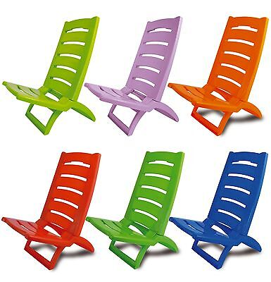 £19.99 • Buy Plastic Portable Folding Low Beach Chairs Coloured Garden Picnic Deck Pool Chair