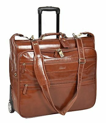 Genuine Leather Suit Carrier On Wheels Travel Weekend Bag Garment Bag Chestnut • 269.10£