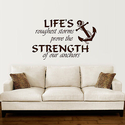Anchor Wall Decal Quotes Nautical Sayings Wall Vinyl Sticker Bedroom Decor ZX142 • 17.88£