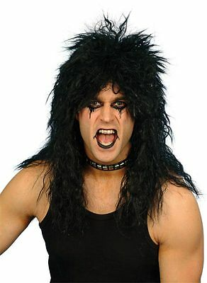 $13.99 • Buy Mens Long Black Rocker Wig Rock And Roll Hair Costume Punk Wavy Curly Adult NEW