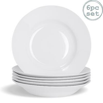 £16.49 • Buy White Soup Pasta Cereal Bowls Wide Rimmed - 230mm (9 ) - X6