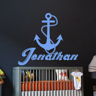 Nautical Wall Decals Name Wall Decal Vinyl Anchor Stickers Nursery Bedroom MN637 • 18.81£