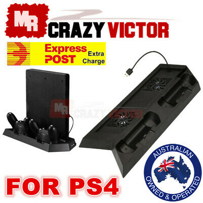 AU22.95 • Buy Playstation PS4 & Slim 3in1 Vertical Stand Dock Controller Cooling Fan Charger