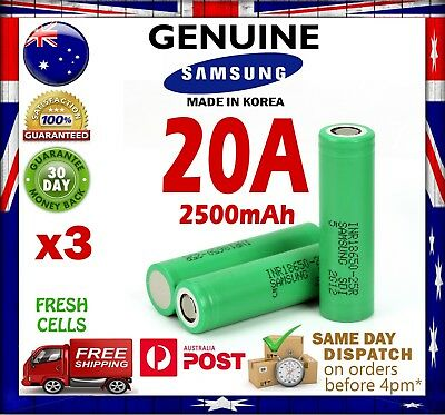 AU29.95 • Buy 3x Samsung INR 18650 25R 2500mAh Li-Ion Rechargeable Battery High Current 20A