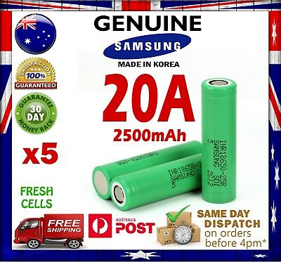 AU49 • Buy 5x Samsung INR 18650 25R 2500mAh Li-Ion Rechargeable Battery High Current 20A