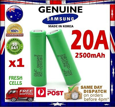 AU10.95 • Buy 1x Samsung INR 18650 25R 2500mAh 20A Rechargeable Battery High Current