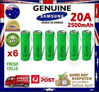 AU63.90 • Buy 6x Samsung INR18650 25R 2500mAh TABBED Li-Ion Rechargeable Battery High Current