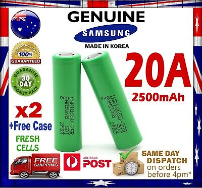AU21.90 • Buy 2x Samsung INR 18650 25R Li-Ion Rechargeable Battery High Current