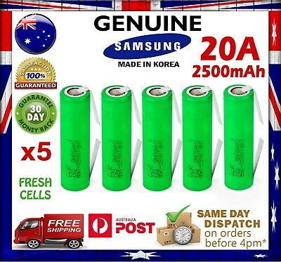 AU54.90 • Buy 5x Samsung INR18650 25R 2500mAh TABBED Li-Ion Rechargeable Battery High Current