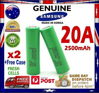 AU17.99 • Buy 2x Samsung 18650 2500mAh 25R Lithium Rechargeable Battery 20A