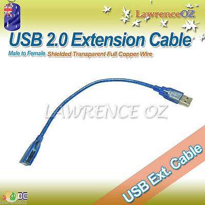 AU3.99 • Buy Blue Transparent USB 2.0 A Male To A Female Copper Extension Cable Cord Shielded