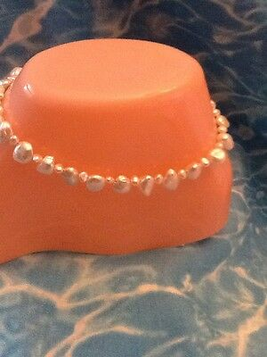 $ CDN39.63 • Buy Natural KEISHA PEARL ANKLET 10 Inches Sterling Silver Lobster Clasp