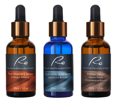 AU49.95 • Buy Vitamin C Serum+Hyaluronic Acid+Retinol Serum_AM/PM_AGELESS Treatment - 3x30mL