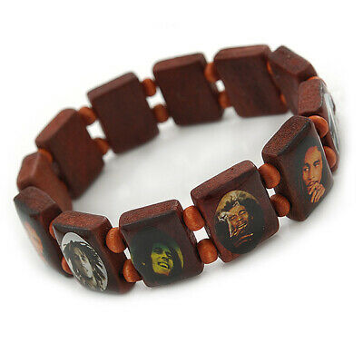 £3.99 • Buy One Love Brown Bob Marley Wooden Stretch Bracelet Up To 20cm Length