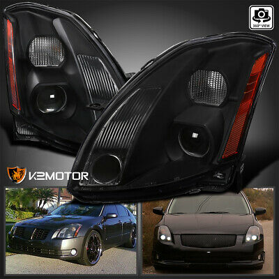 $175.16 • Buy For 2004-2006 Nissan Maxima Black Replacement Projector Headlights Left+Right