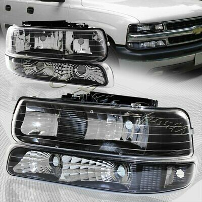 $79.99 • Buy For 2000-2006 Chevy Tahoe Black Housing Headlights+Bumper Clear Reflector Lamps