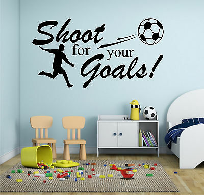 Football Shoot For Your Goals Wall Art Sticker Quote Decal Boys Childrens • 8.99£