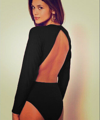 £10.99 • Buy Womens Black Open Back Cut Out Backless Batwing Sleeve Bodysuit Party Top