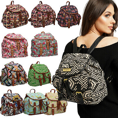 Backpack Ladies Girls Women Bag Animal Print Canvas Rucksack School Gym Travel • 7.99£