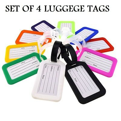 £2.80 • Buy SET OF 4 Plastic Suitcase Luggage ID Tags Labels NAME ADDRESS ID SUITCASE TRAVEL