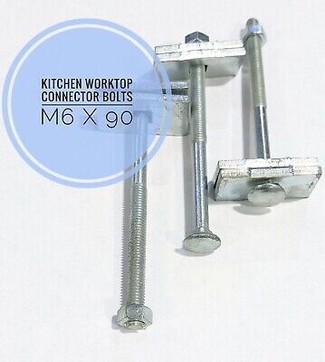 £3.50 • Buy Kitchen Worktop Connection Bolts M6 X 90mm Joining Clamps VB-090