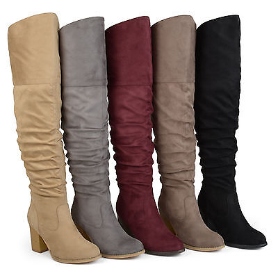 48690559705e Brinley Co Womens Regular And Wide Calf Faux Suede Ruche Over The Knee Boots  New •
