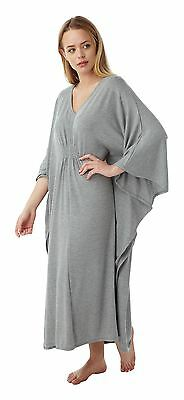 Women's Poncho Kaftan Soft Touch Lounge Wear Gown Nightwear One Size, Grey • 9.95£