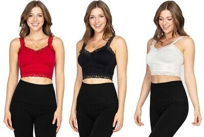 $24 • Buy M. Rena Sexy Women's Lace Seamless Cropped Camisole Bralette. One Size