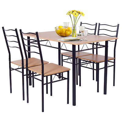 5 Piece Dining Table Set With 4 Chairs Wood Metal Kitchen Breakfast Furniture • 119.99$