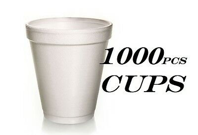 1000 Foam Cups Polystyrene Coffee Styrofoam Disposable Cup Insulated 8oz Tea NEW • 31.25£