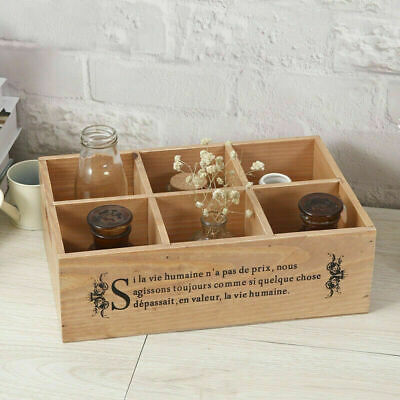 Drawer Storage Boxes Tray Rustic Wood Jewellery Cosmetic Organiser 6 Compartment • 9.99£