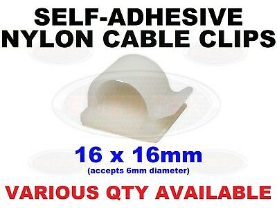 £2.06 • Buy SELF ADHESIVE NYLON CLIPS FOR CABLE, WIRE CONDUIT WHITE 16mm