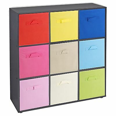 £54.99 • Buy Wooden 9 Cubed Cupboard Storage Units Shelves With 9 Drawers Baskets Organisers