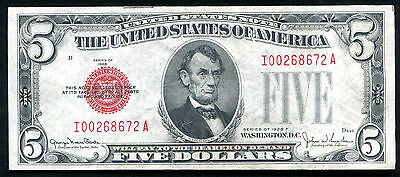$ CDN67.06 • Buy Fr. 1531 1928-f $5 Red Seal Legal Tender United States Note About Unc (b)