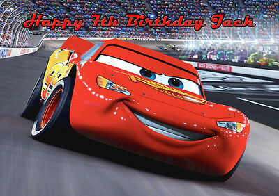 Cars Lightning McQueen A4 Icing Sugar Paper Birthday Cake Topper Image 2 • 5.46£