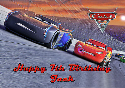 Cars Lightning McQueen A4 Icing Sugar Paper Birthday Cake Topper Image 3 • 5.46£