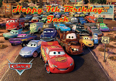 Cars Lightning McQueen A4 Icing Sugar Paper Birthday Cake Topper Image 4 • 5.46£