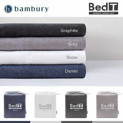 AU94 • Buy Bambury BedT Cotton Blend Jersey T-Shirt Sheet Set King|Queen|Double|King Single