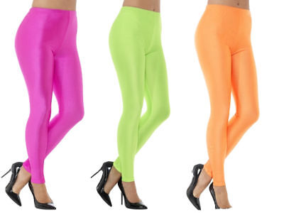 AU13.44 • Buy 80s Leggings Neon Pink Green Orange Spandex Ladies Fancy Dress