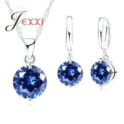 £4.99 • Buy 925 Sterling Silver Blue Crystal Cubic Zirconia Necklace Pendant And Earring Set