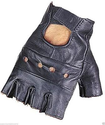 £2.49 • Buy Real Fingerless Leather Gloves Driving Cycling Punk Goth Bus Wheelchair Gym