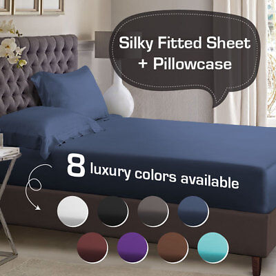 AU59 • Buy 1000TC Silky Satin Single/KS/Double/Queen/King Size Bed Fitted Sheet Pillowcase