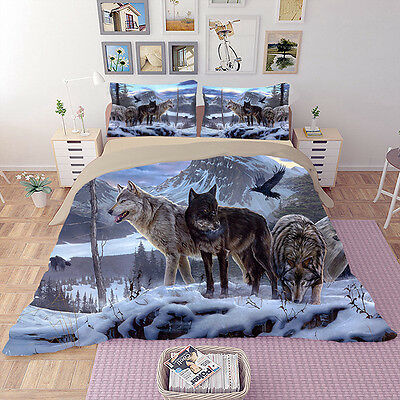 AU88.21 • Buy 3D Animal Print Snow Wolf Duvet Cover Quilt Cover Bedding Set Double King Sizes