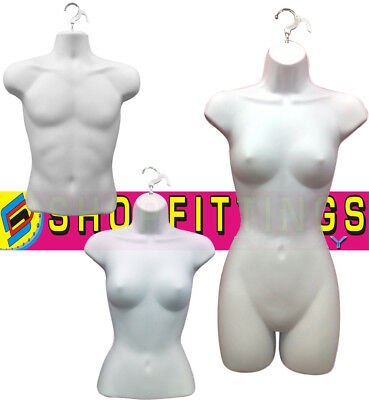 White High Quality Half Hanging Mannequin Torso Body Form Display Bust   • 10.99£