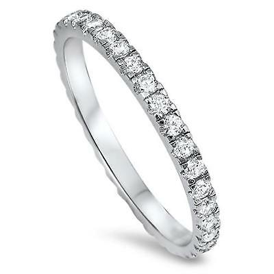 AU12.75 • Buy NEW STACKABLE ETERNITY RING Genuine STERLING SILVER Ring SZ 4 5 6 7 8 9 10 11 12