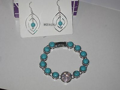 $ CDN30.65 • Buy LOT OF 2:Lia Sophia BAY BREEZE BRACELET & TURQUOISE COLORED BEAD EARRINGS(NON LS