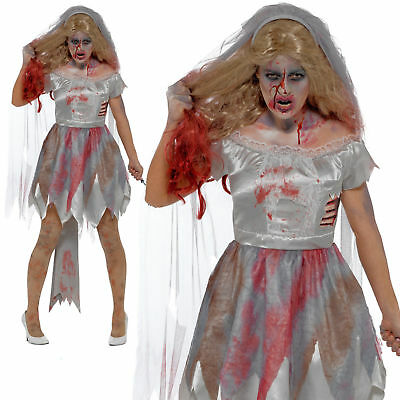 Adult Deluxe Zombie Bride Costume Halloween Horror Ladies Fancy Dress New • 14.49£